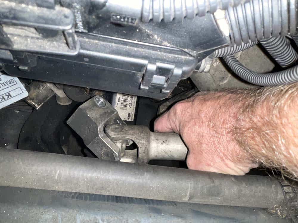 Pull the lower joint assembly loose from the steering rack